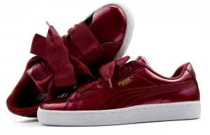 Buty PUMA BASKET HEART GLAM Jr bordowe (364917 02)