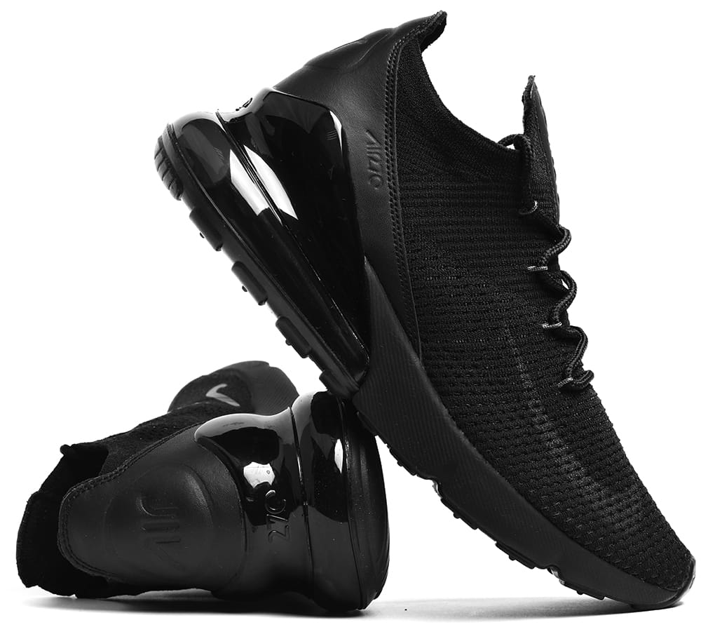 Buty Nike Air Max 270 Flyknit DamskieMęskie W Czarne Na