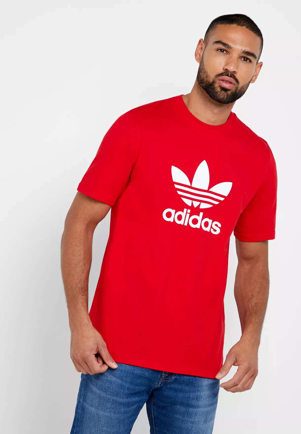 Koszulka męskie adidas Originals Trefoil czerwona (EJ9678)