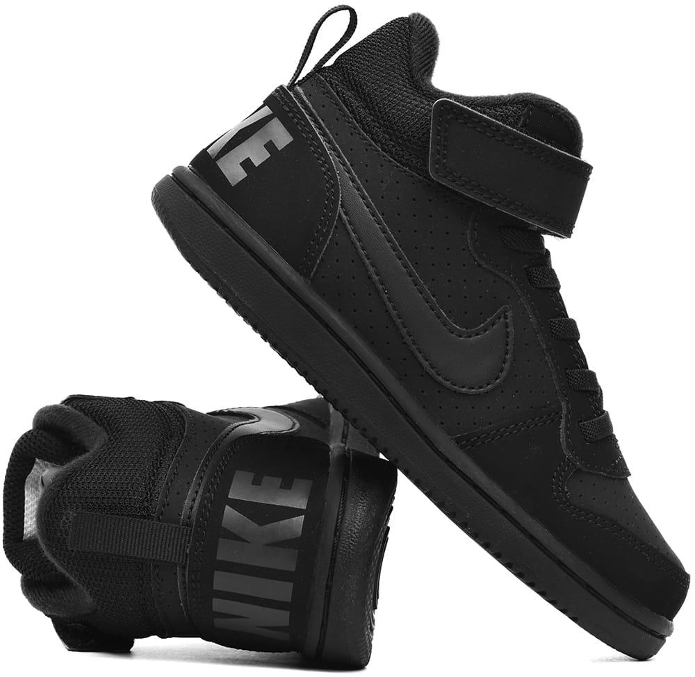 rozmiar 7 super słodki buty do biegania Buty dziecięce za kostkę Nike Court Borough Mid czarne (870026 001)